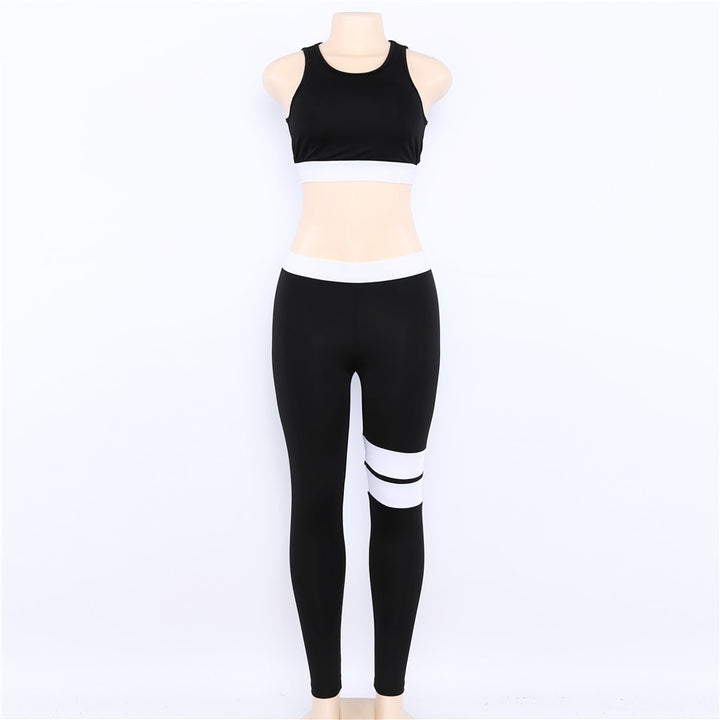 Women's Summer Elastic Two-Pieces Striped Fitness Set | Crop Top & Leggings
