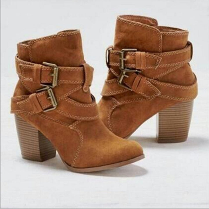 Women's Autumn/Winter Soft Leather Mid-Heeled Ankle Boots