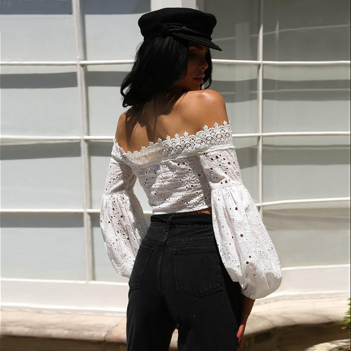 Women's Summer Off-Shoulder Slash Neck Lace Cropped Blouse With Lantern Sleeves