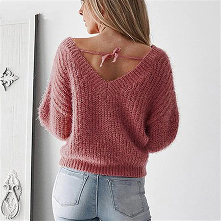 Women's Autumn/Winter Backless V-Neck Loose Knitted Pullover