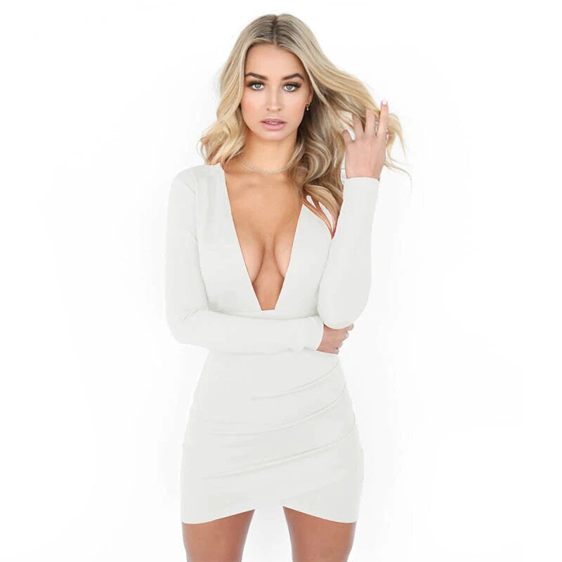 Women's Summer Deep V-Neck Long-Sleeved Backless Bodycon Mini Dress