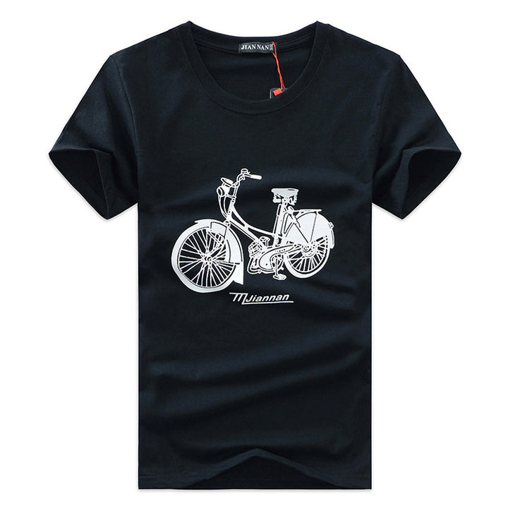 Men's Summer Cotton Short-Sleeved T-Shirt With Printed Bicycle