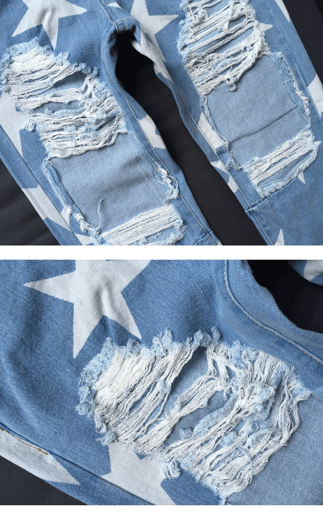 Women's Ripped Boyfriend Jeans With Stars Pattern - Zorket