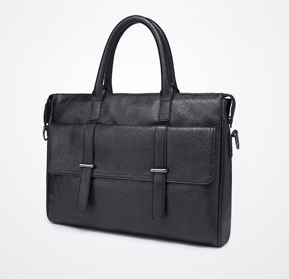 Black Men's PU Leather Briefcase - Zorket