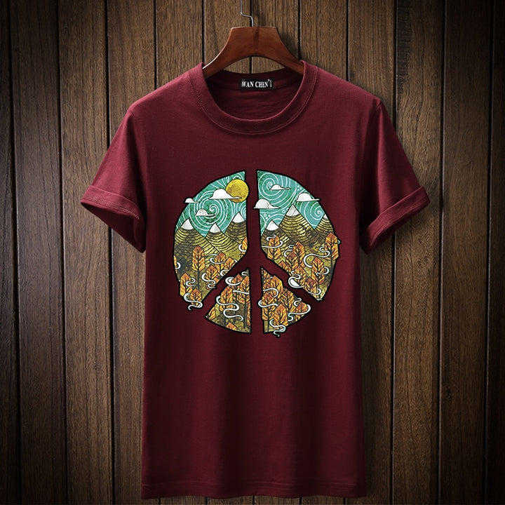 Men's Summer Short-Sleeved 100% Cotton T-Shirt