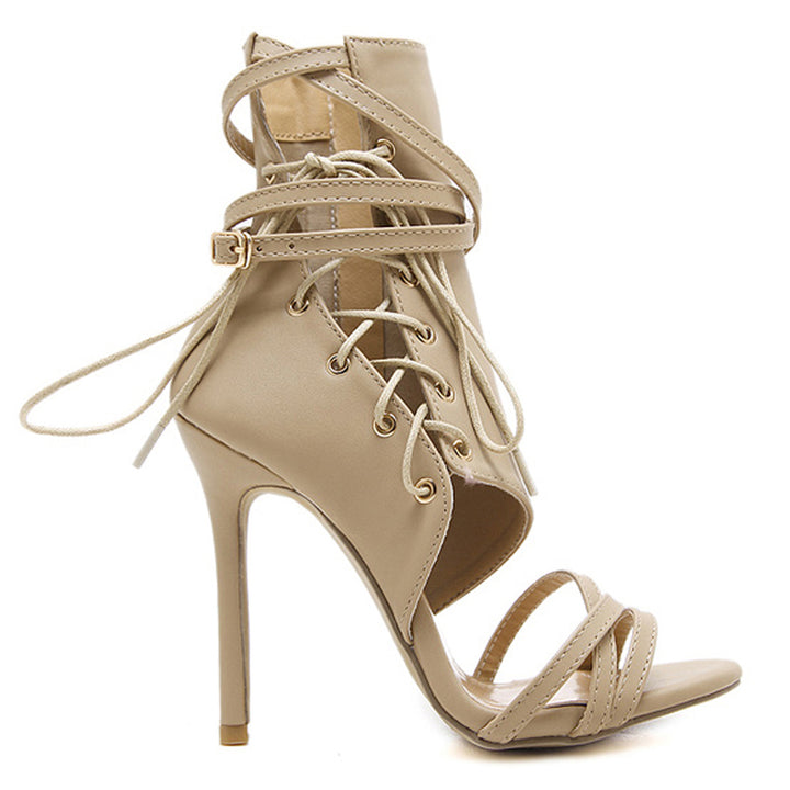 Women's Summer PU High-Heeled Lace-Up Sandals