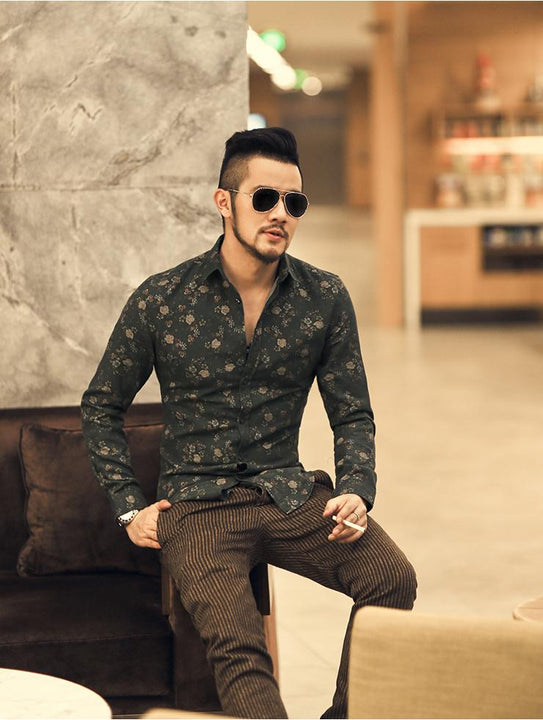 Men's Floral Long Sleeved Shirt