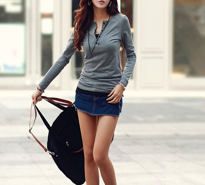 Women's Solid Color Slim Simple Style V-Neck Tee - Zorket