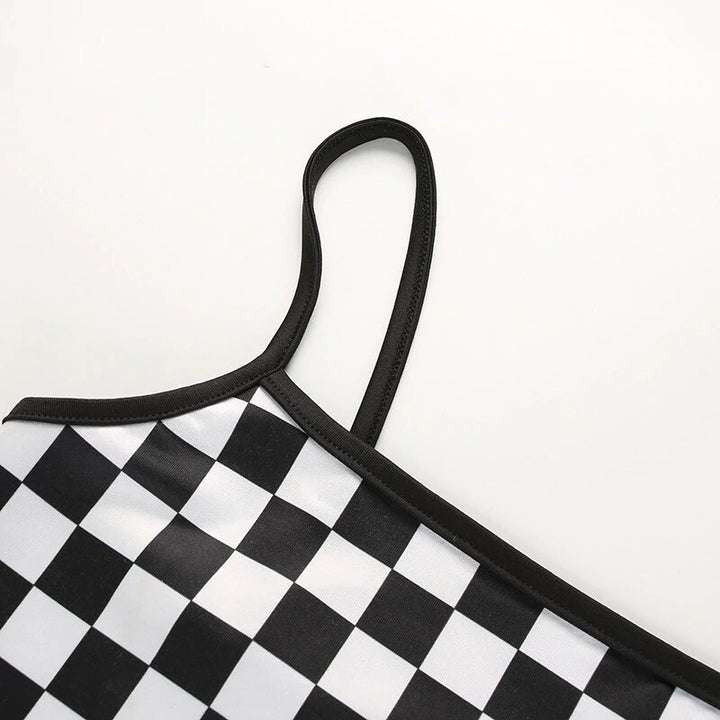 Women's Summer Stretchy Bodycon Slim Crop Top With Checkerboard Pattern