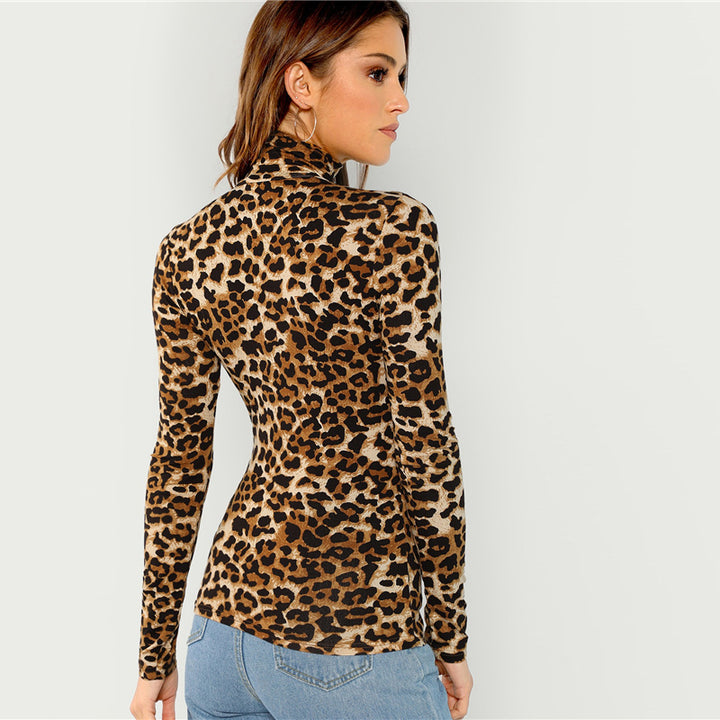 Women's Autumn High Neck Long-Sleeved T-Shirt With Leopard Pattern