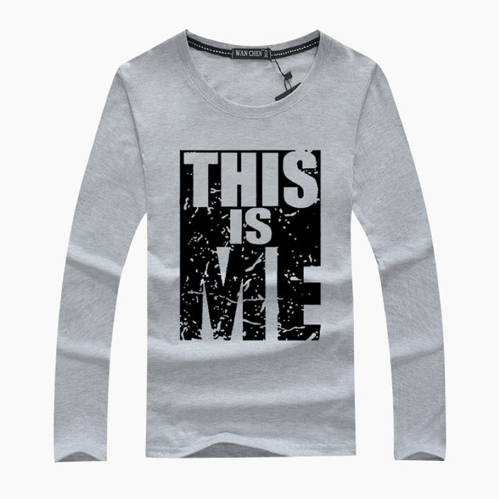 "Men's Spring Cotton Long-Sleeved T-Shirt With ""This Is Me"" Printing"