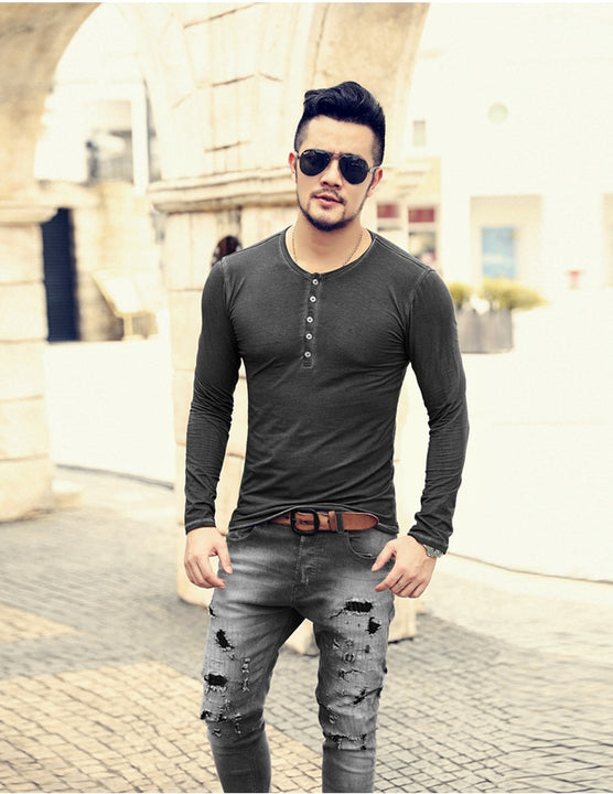 Men's Spring/Autumn Washed Long-Sleeved Cotton Slim Fit T-Shirt