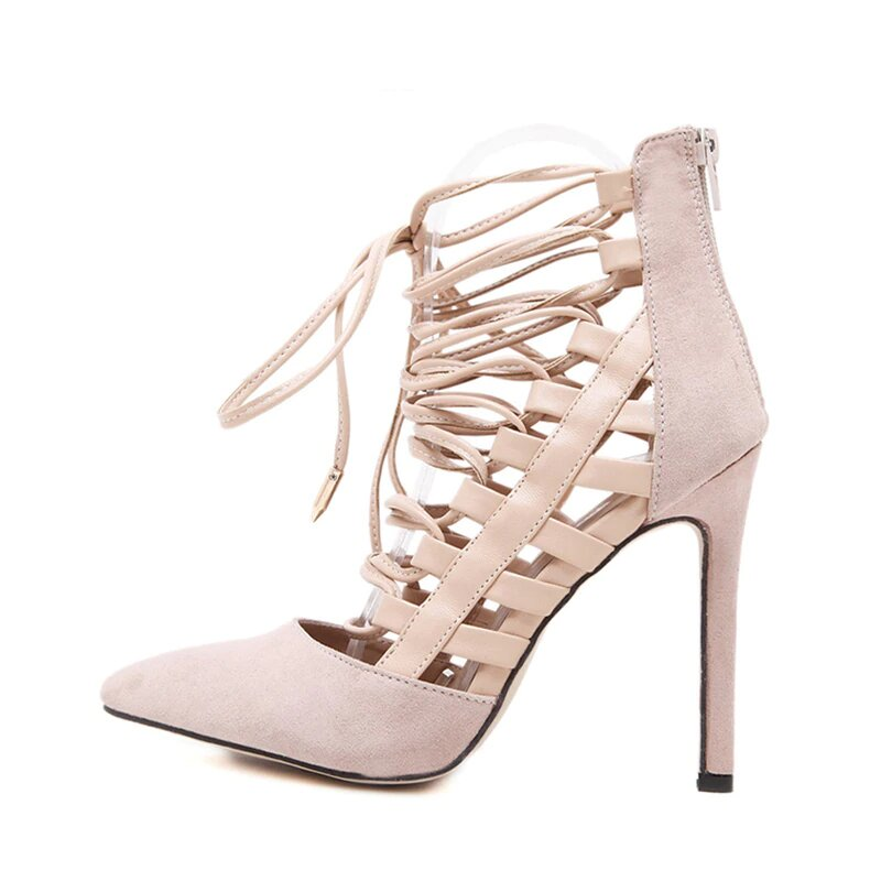 Women's Spring/Autumn Bandage Cross-Tied High-Heeled Flock Pumps
