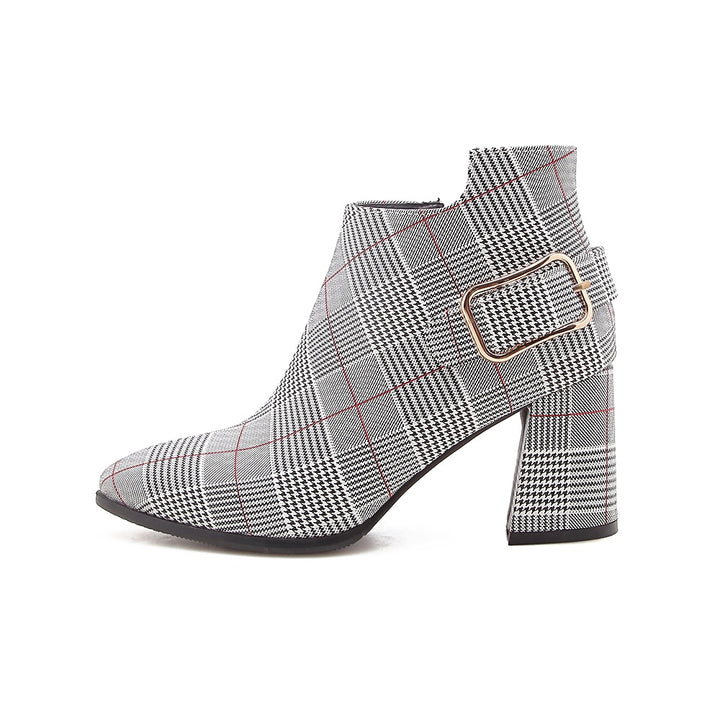 Women's Autumn/Winter Plaid Pointed Toe Heeled Ankle Boots