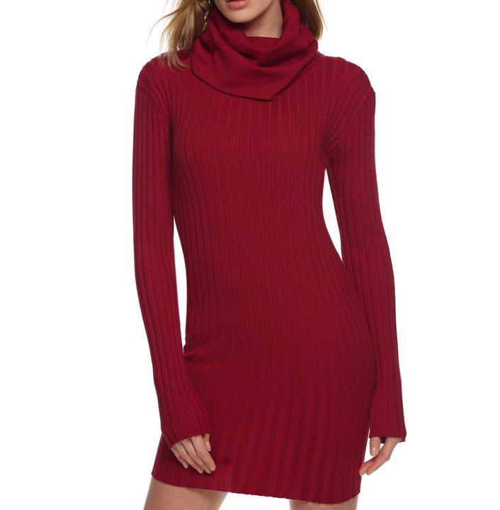 Dress – Long Sleeve Turtleneck Women's Sweater Dress For Winter And Autumn | Zorket