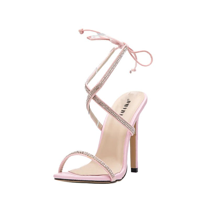 Women's Summer High-Heeled Lace-Up Sandals With Rhinestones