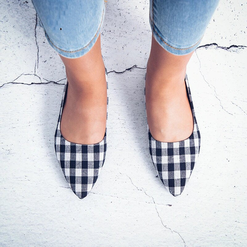 Women's Summer Comfortable Slip-On Gingham Flat Shoes