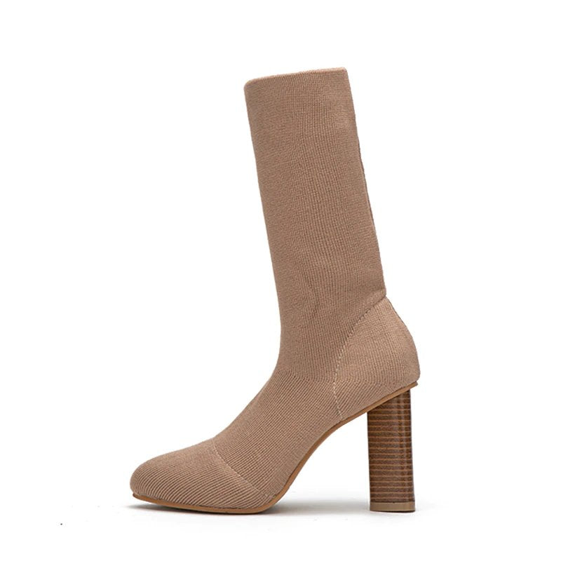 Women's Winter Warm Stretch High-Heeled Knitted Sock Boots