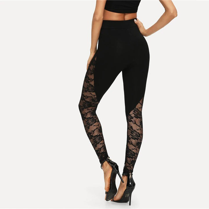 Women's Summer Stretchy Skinny Leggings With Floral Lace Inserts