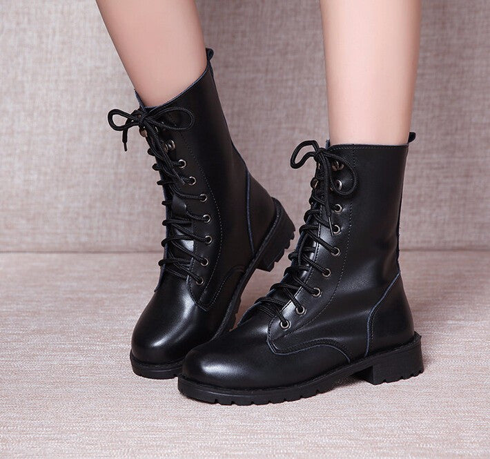Women's Casual Lace-Up Motorcycle Boots - Zorket