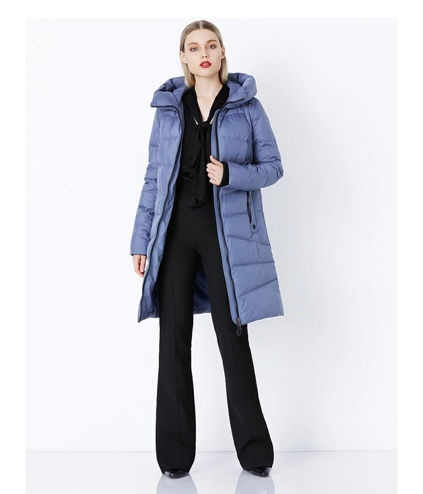 Women's Winter Comfortable Bio-Fluff Long Down Coat With Hood