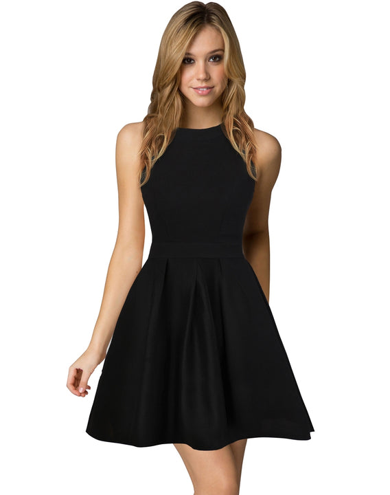 Women's Summer Halter-Neck Backless A-Line Cocktail Dress