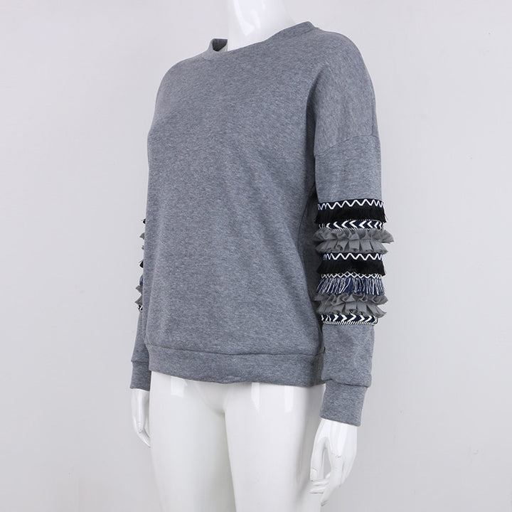 Women's Autumn Vintage O-Neck Loose Sweatshirt With Patchwork Sleeves