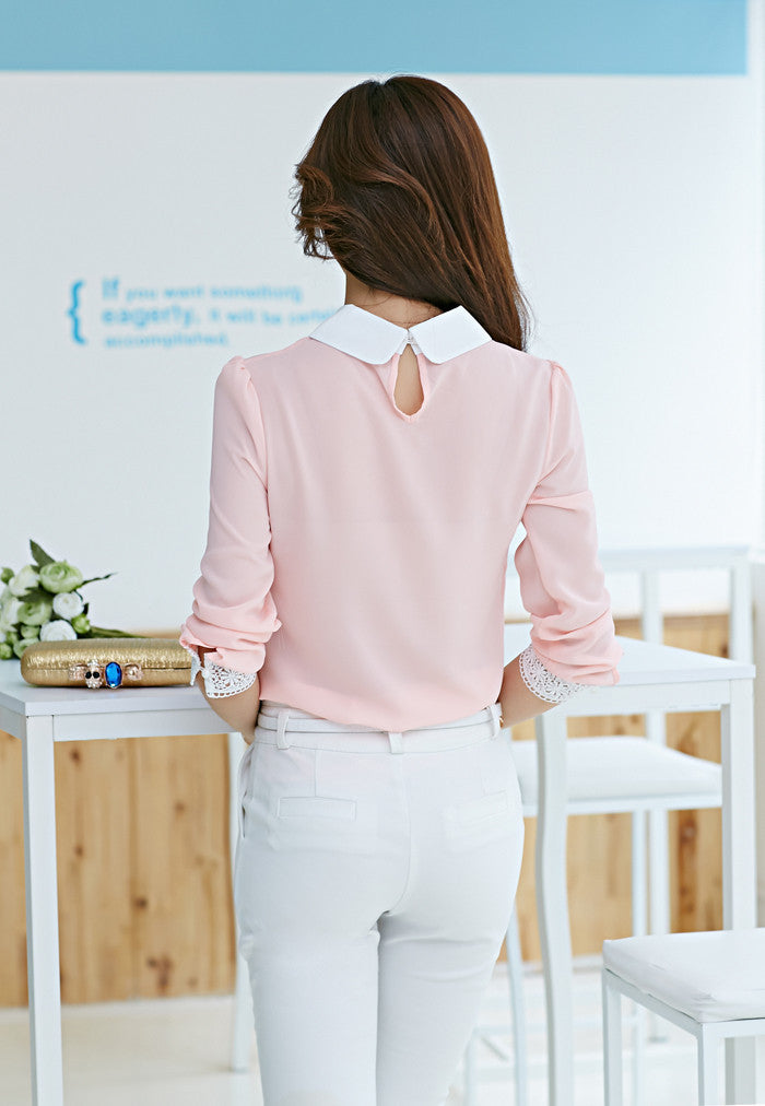Women's Сhiffon Lace Long Sleeve Blouse - Zorket