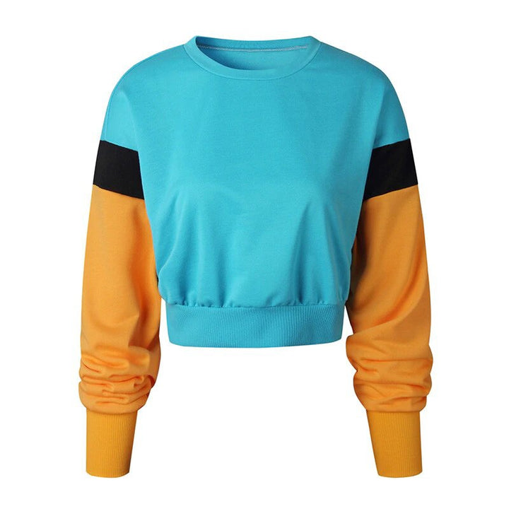 Women's Autumn/Winter Multicolor Patchwork Loose Cropped Sweatshirt