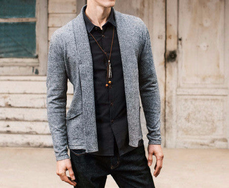 Men's Solid Color Slim Cardigan - Zorket