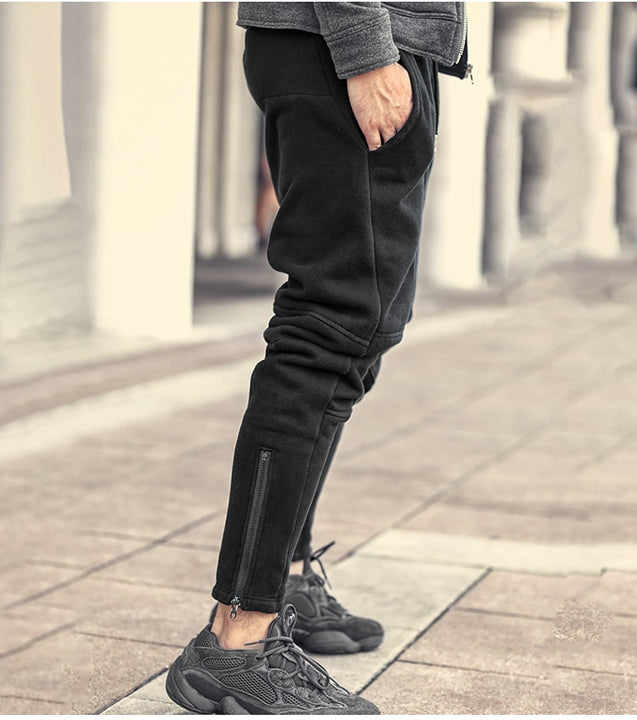 Men's Spring/Autumn Warm Thick Loose Pants With Fleece Inside