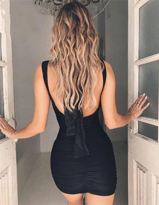 Women's Summer V-Neck Sleeveless Backless Bodycon Mini Dress