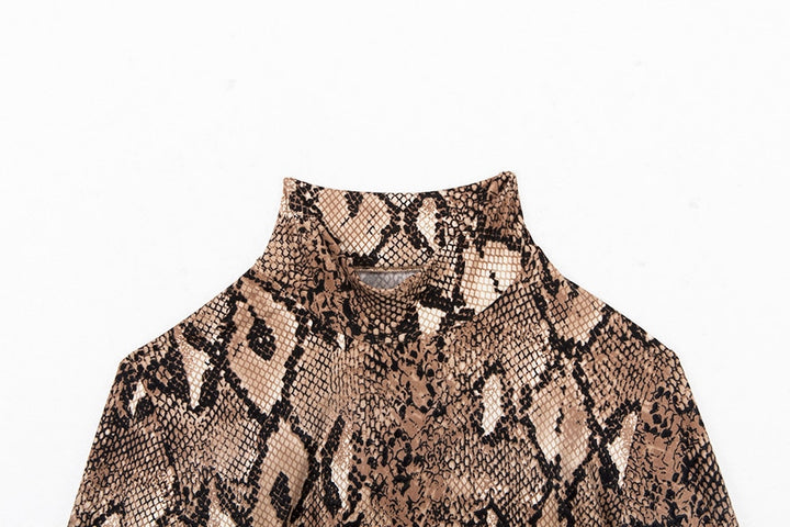 Women's Autumn Long-Sleeved Turtleneck Bodysuit With Snake Skin Pattern
