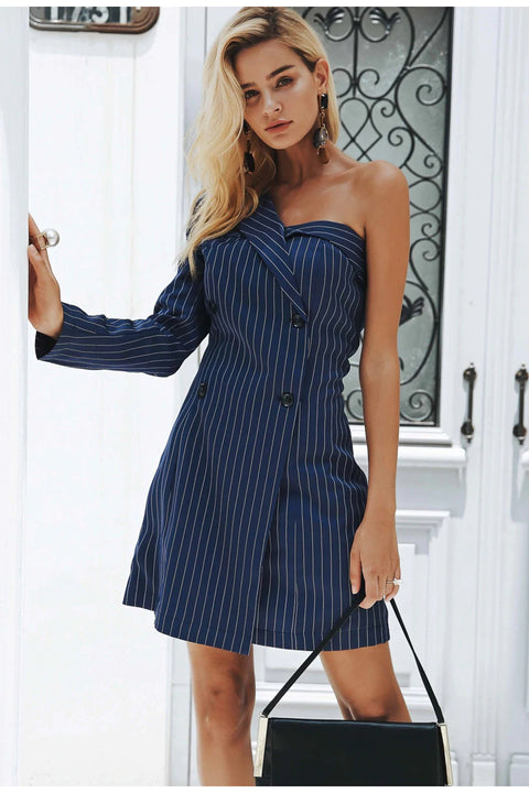 Women's Autumn Striped Dress With Opened One Shoulder