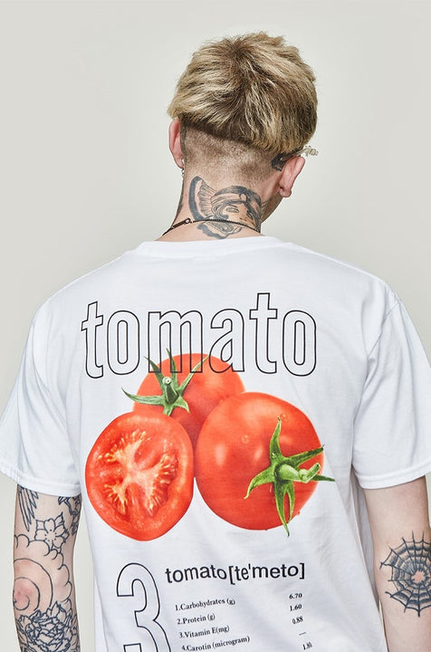 Men's Summer Cotton O-Neck Short-Sleeved T-Shirt With Printed Tomatoes