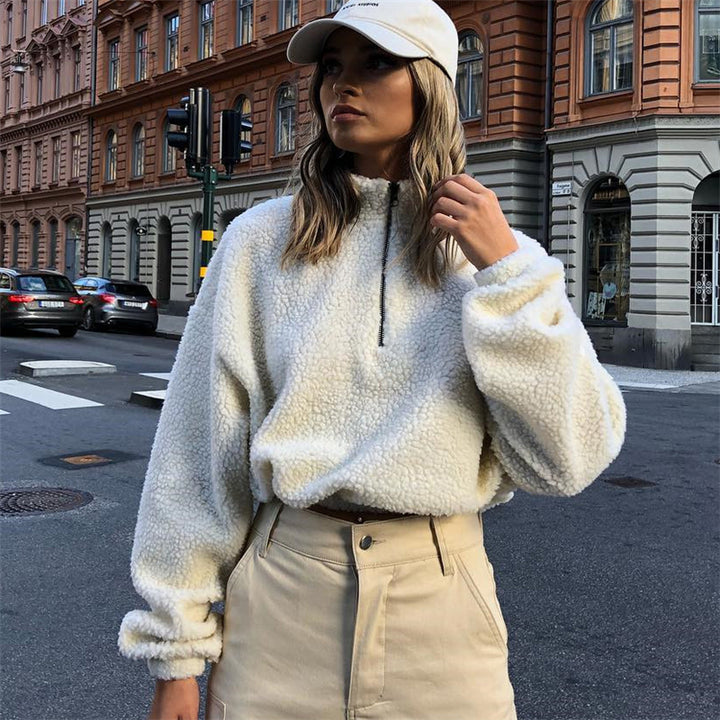 Women's Winter Faux Lamb's-Wool Crop Oversized Pullover With Turtleneck