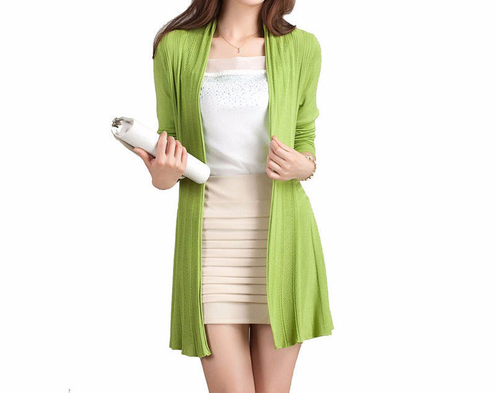 Women's Casual Fashion Color Cardigan Without Zipper - Zorket
