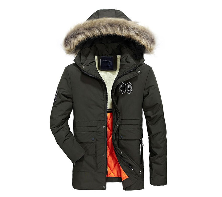 Men's Winter Fur-Hooded Warm Long Parka