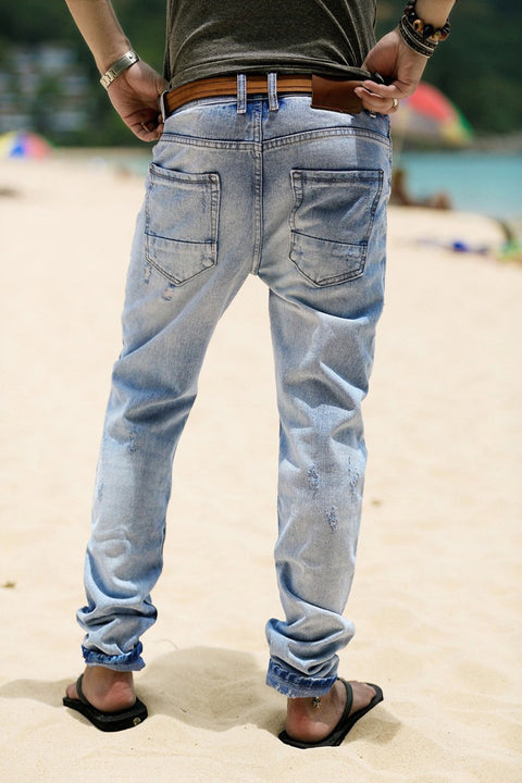 Men's Washed Slim Straight Denim Pants - Zorket