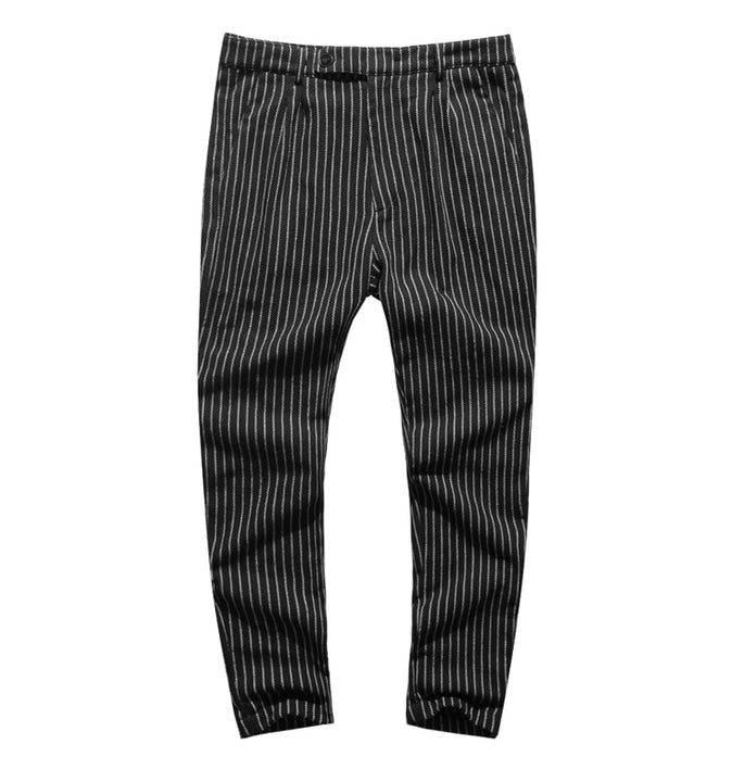 Men's Autumn/Winter Woolen Vertical Striped Straight Suit Pants