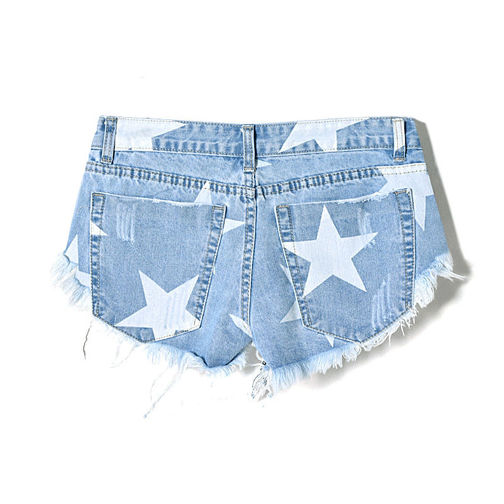 Denim Shorts – Female Low Waist Shorts With Stars Print | Zorket