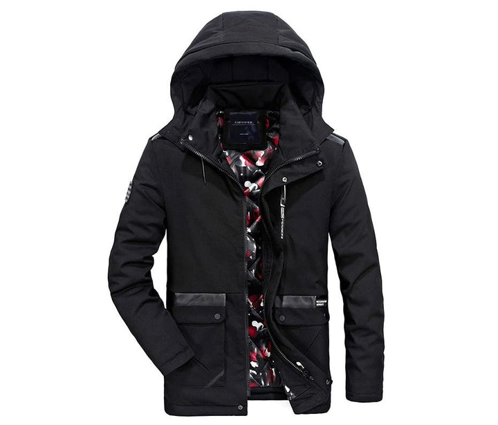 Men's Winter Windproof Thick Tactical Hooded Cotton Parka