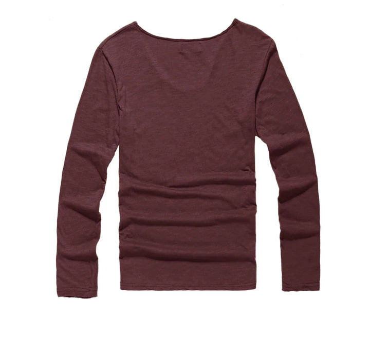 Men's Autumn Wear V-Collar Long Sleeve Casual Cotton Bottoming T-Shirt