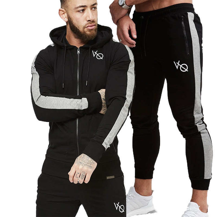 Men's Spring/Autumn Hooded Tracksuit | Men's Two-Piece Sport Set