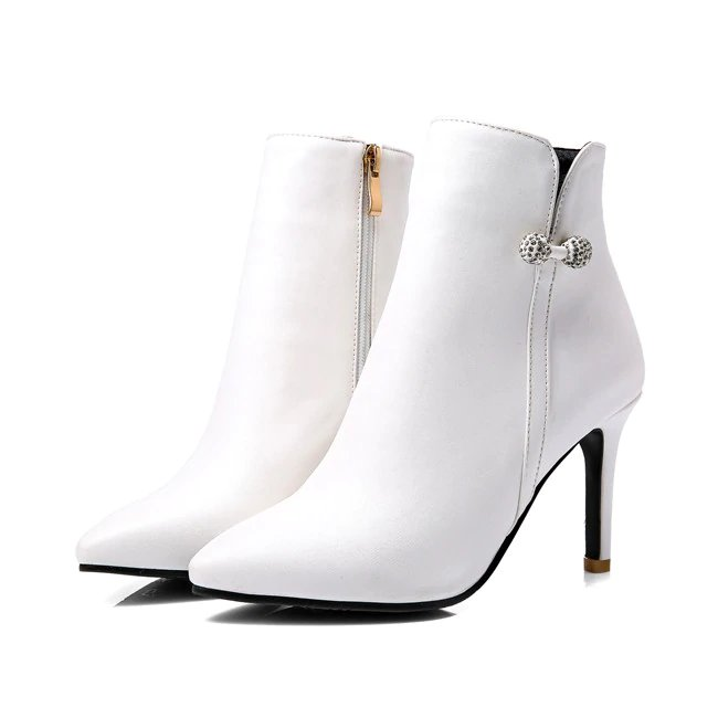 Women's Spring/Autumn High-Heeled Ankle Boots With Decorative Crystal Bow