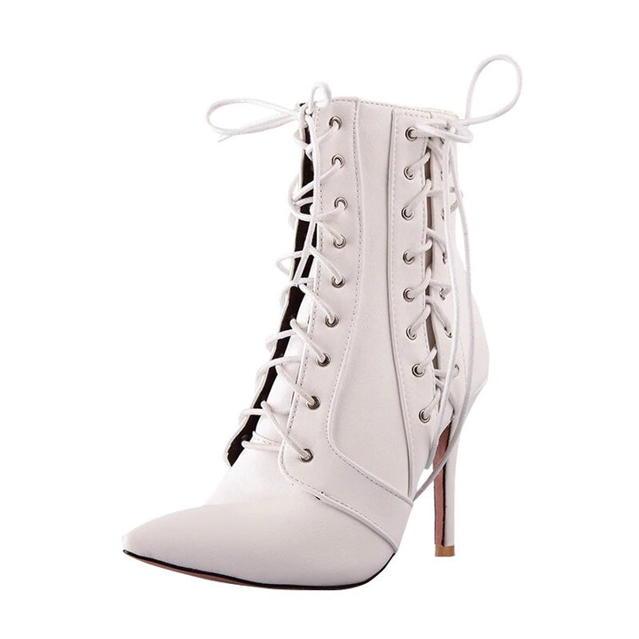 Women's Winter Lace-Up PU Leather Cross-Tied High-Heeled Ankle Boots