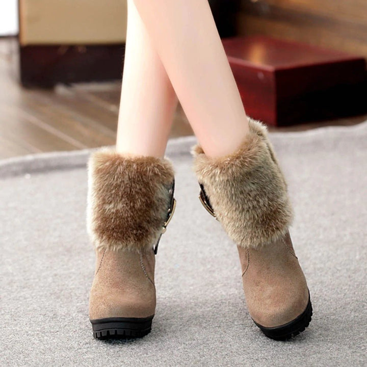 Women's Winter High-Heeled Plush Boots With Decorative Buckles