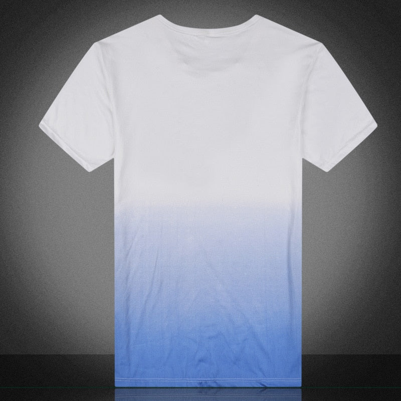 Men's Summer O-Neck T-Shirt In Gradient Color