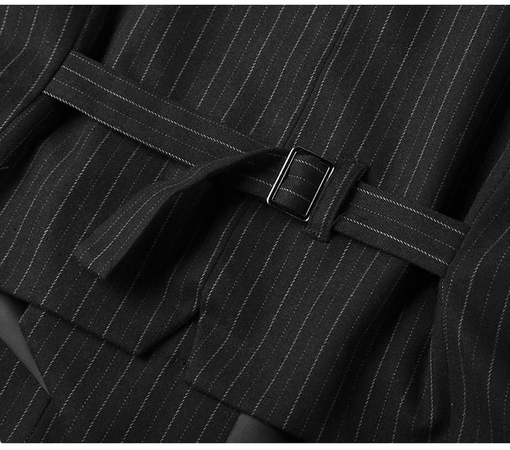 Men's Spring/Autumn Slim Striped Double-Breasted Suit Vest