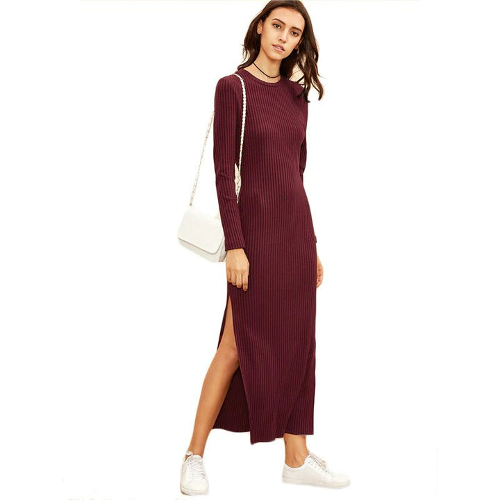 Women's Autumn/Winter Knitted Long-Sleeved High Slit Ribbed Dress